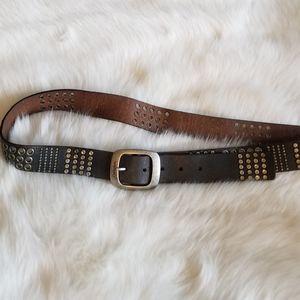 Calvin Klein Metal Studded Leather Belt
